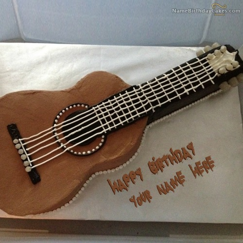 Guitar Birthday Cake For Boys With Name & Photo
