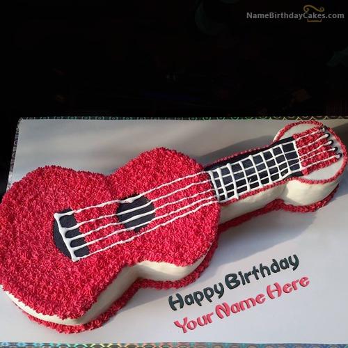 Enjoyable Guitar Birthday Cake With Name Funny Birthday Cards Online Alyptdamsfinfo