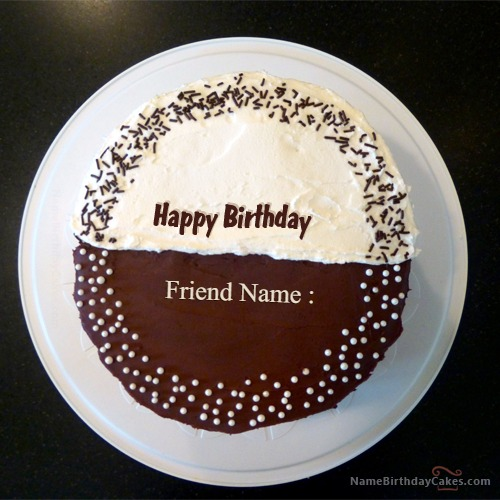 Half Choclote Birthday Cake With Name
