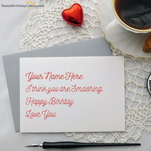 Birthday Card for Lover With Name – Handmade Birthday Card for Lover