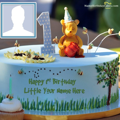 Astonishing Happy 1St Birthday Cake With Name And Photo Personalised Birthday Cards Sponlily Jamesorg