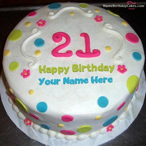 Amazing Happy 21St Birthday Cake With Name Funny Birthday Cards Online Alyptdamsfinfo