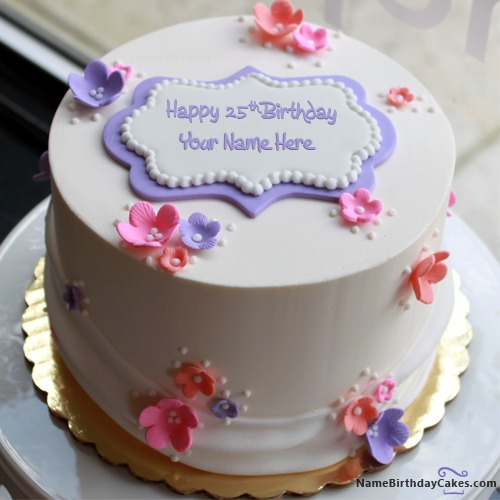 Tremendous Happy 25Th Birthday Cake With Name Birthday Cards Printable Nowaargucafe Filternl
