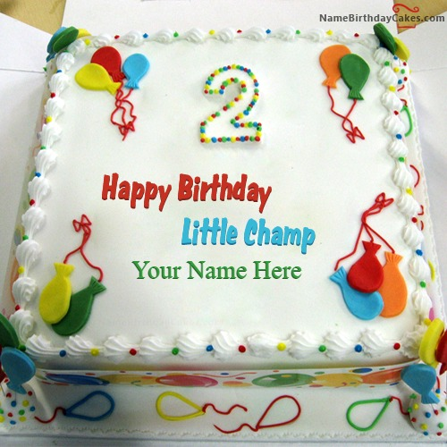 Birthday Kajal Name Cake Images : Happy 2nd Birthday Cake With Name