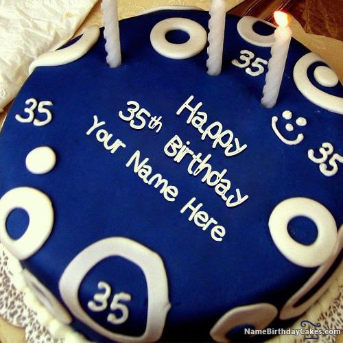 Prime Happy 35Th Birthday Cake With Name Personalised Birthday Cards Sponlily Jamesorg