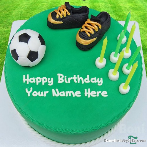 Magnificent Football Cake With Name For Birthday Birthday Cards Printable Giouspongecafe Filternl