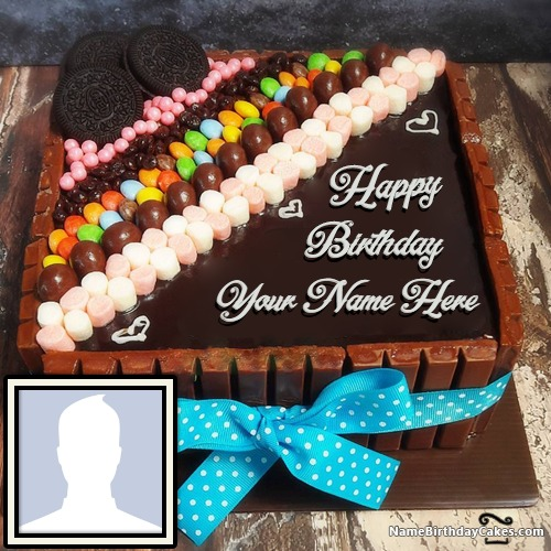 Magnificent Happy Birthday Chocolate Cake With Name And Photo Personalised Birthday Cards Veneteletsinfo