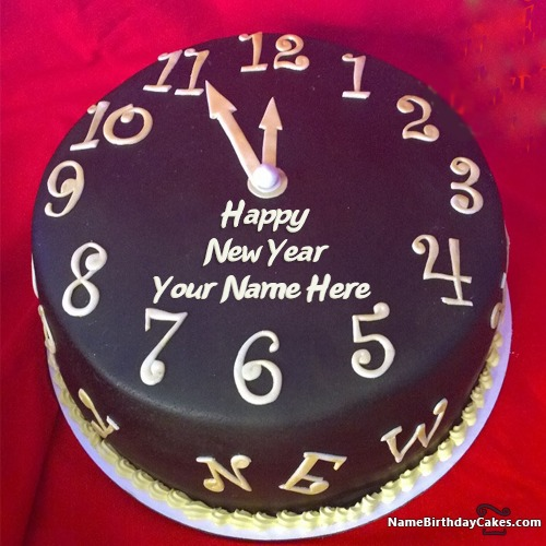 Write Name On Happy New Year Countdown 2017 Cake