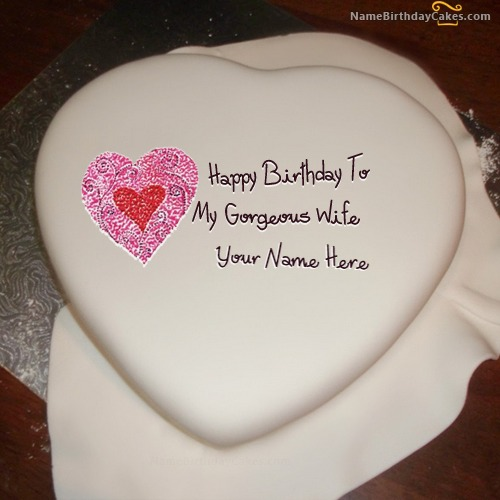 Write Name On Heart Birthday Cake For Wife