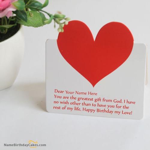 Heart Birthday Card for Wife With Name & Photo