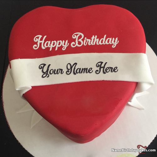 Write Name On Heart Red Velvet Cake For Lover Birthday Wish