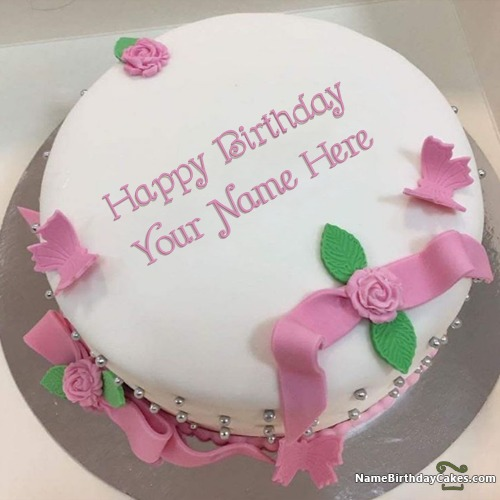 Ice Cream Fondant Cake For Friends Birthday Wish With Name & Photo