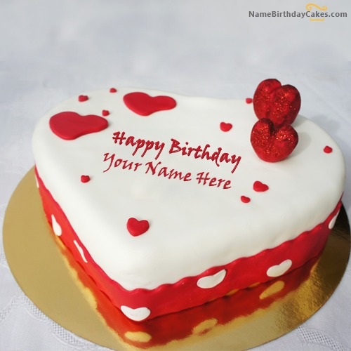 Write Name On Ice Heart Birthday Cake For Lover