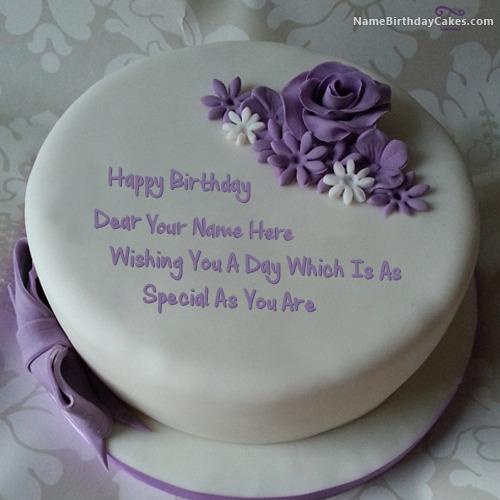 Indigo Rose Happy Birthday Cake With Name