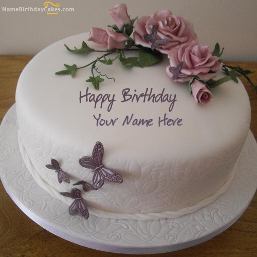 Birthday Flower Cake With Name & Photo