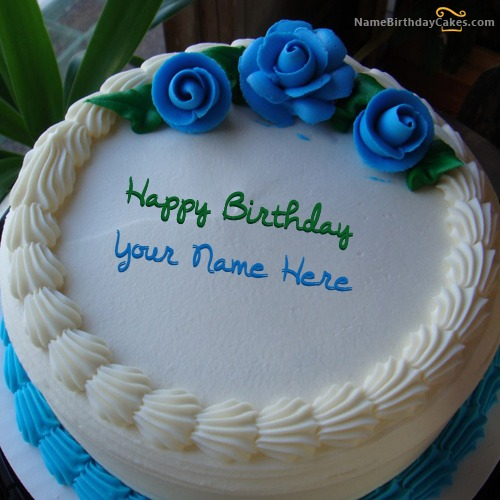 Write Name On Blue Flower Icecream Cake