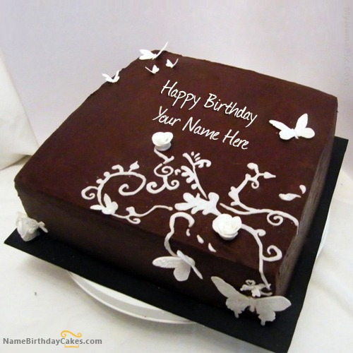 Butteryfly Chocolate Birthday Cake With Name & Photo