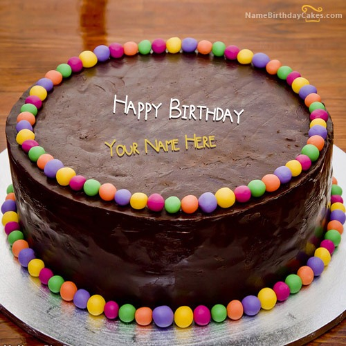 Chocolate Balls Bithday Cake With Name & Photo