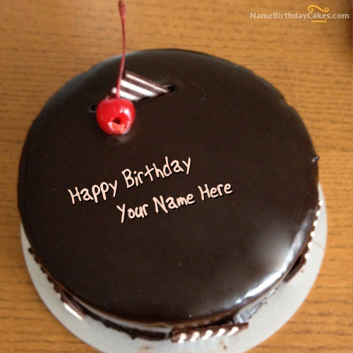 Write Name On Chocolate Cherry Cake