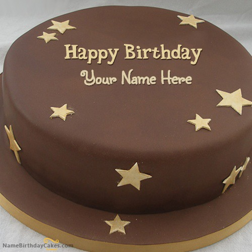Chocolate Stars Cake With Name & Photo