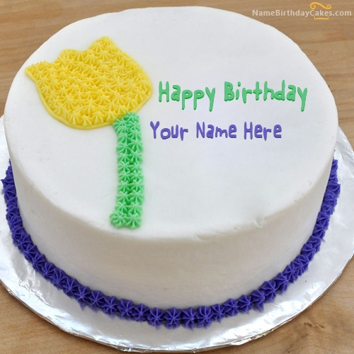 Flower Birthday Cake With Name & Photo