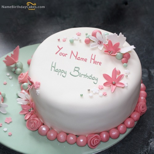 Flowers Elegant Cake With Name