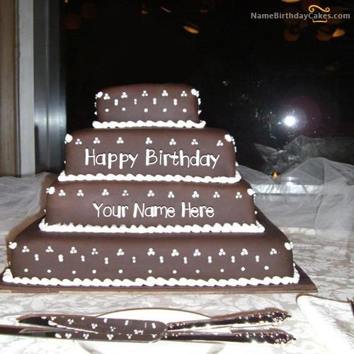 Write Name On Happy Birthday Layered Cake