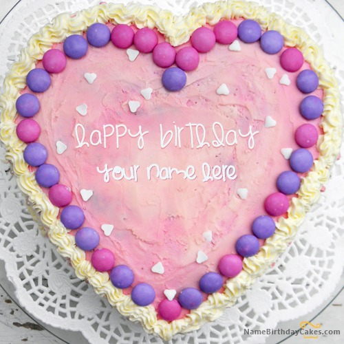 Write Name On Pink Heart Cake
