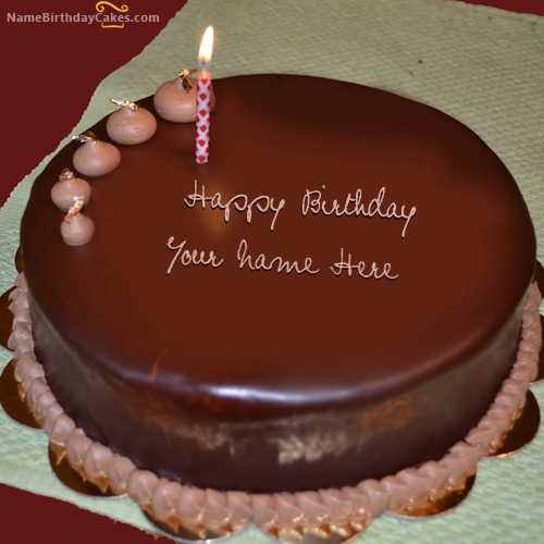 Plain Chocolate Cake With Name & Photo