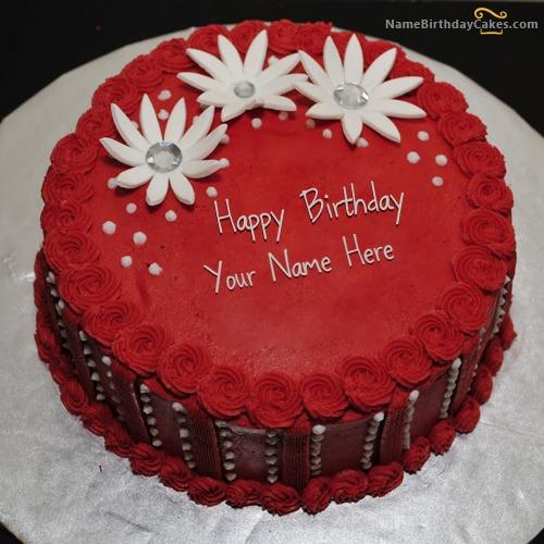 Write Name On Red Elegant Birthday Cake