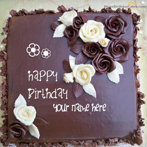Write Name On Roses Chocolate Birthday Cake