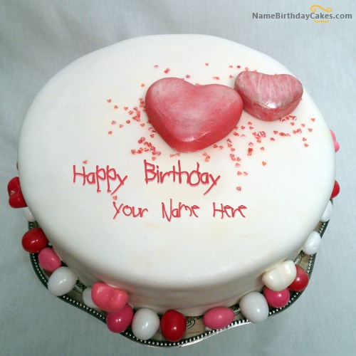 Write Name On Specialty Heart Birthday Cake