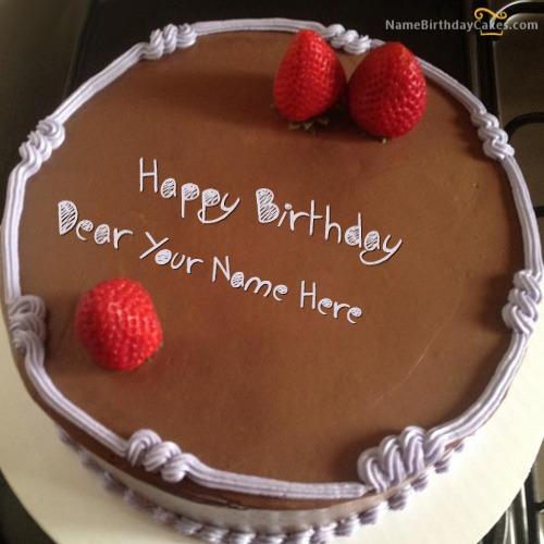 Chocolate Strawberry Birthday Cake With Name