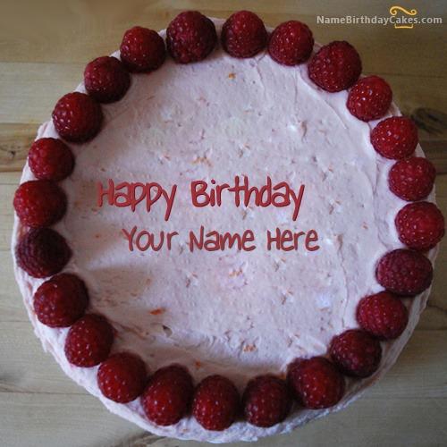 Write Name On Strawberry Border Birthday Cake