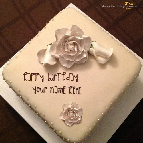 Write Name On White Rose Cake