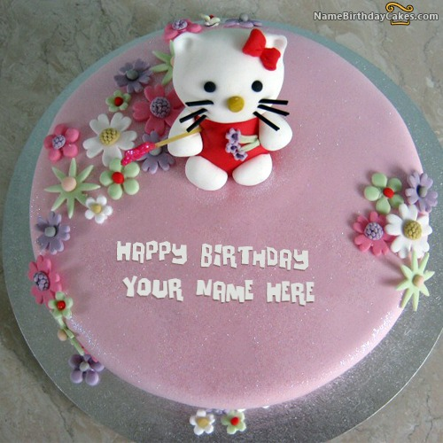 Kitty Birthday Cake For Kids With Name & Photo