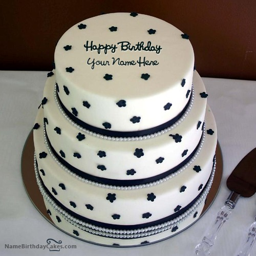 Superb 3 Layer Birthday Cake With Name Funny Birthday Cards Online Overcheapnameinfo