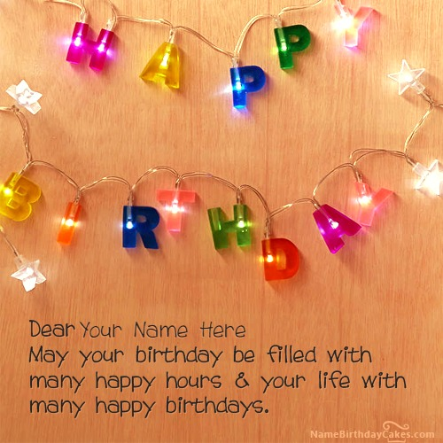 Write Name On Lights Background Birthday Wishes