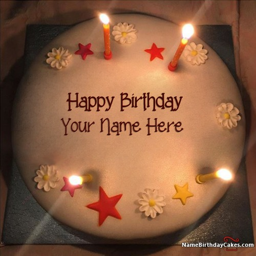 Write Name On New Arrival Butter Candles Birthday Cake For Friends
