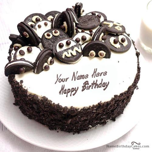 Astonishing Oreo Birthday Cake With Name Funny Birthday Cards Online Kookostrdamsfinfo