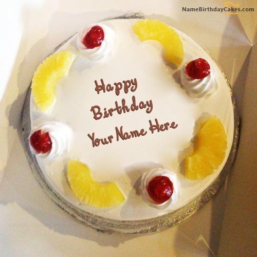 Terrific Pineapple Birthday Cake With Name Personalised Birthday Cards Akebfashionlily Jamesorg