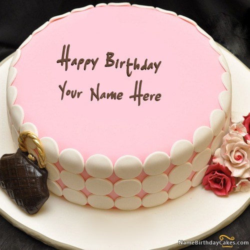 Pink Birthday Cake For Girls With Name & Photo