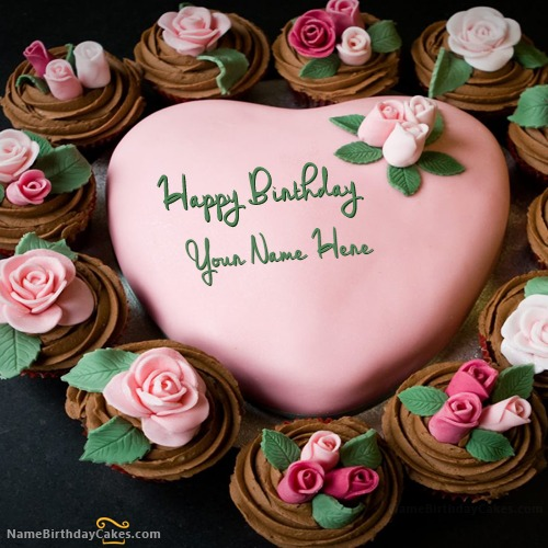 Write Name On New Pink Birthday Cake For Lover