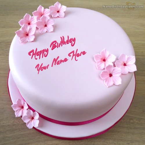 Pink Birthday Cake With Name & Photo
