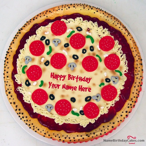 Write Name On Pizza Shape Birthday Cake