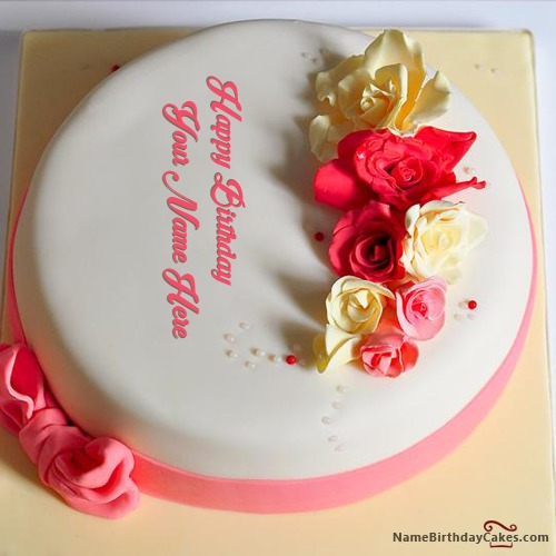 Write Name On Plain Roses Birthday Cake For Lover
