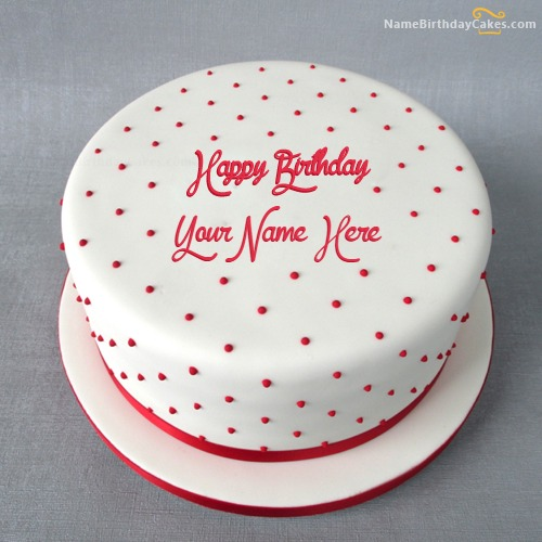 Write Name On Polka Birthday Cake