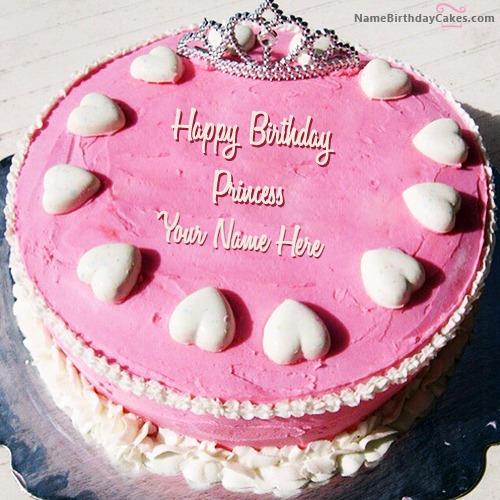 Brilliant Princess Birthday Cake With Name And Photo Funny Birthday Cards Online Aboleapandamsfinfo