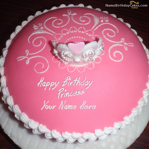 Princess Birthday Cake For Sister With Name & Photo