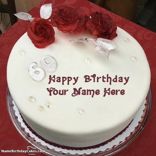 Red Rose 60th Birthday Cakes With Name & Photo